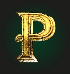 p golden letter vector image
