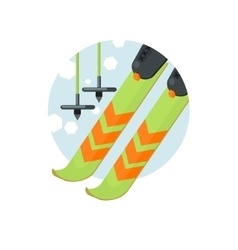 Skiing round sticker vector