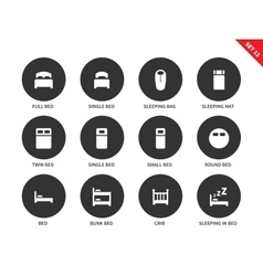 Beds and furniture icons on white background vector