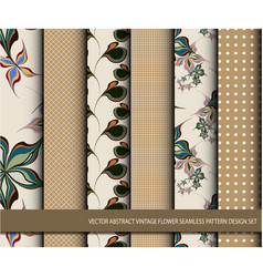 abstract vintage flower seamless pattern set vector image vector image