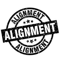 Alignment round grunge black stamp vector