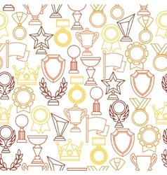 Awards and trophy sport or business line icons vector