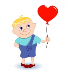 boy with heartballoon vector image vector image