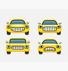 car emoticon yellow smiles vector image vector image