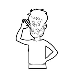Character bearded man without shirt line vector