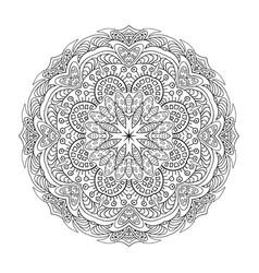 Coloring mandala eastern pattern zentangl round vector