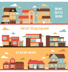 Cottage and village houses horizontal banners vector
