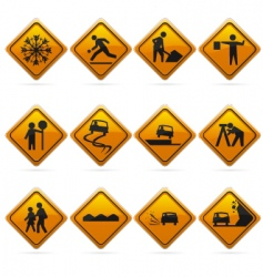 diamond road signs vector image vector image