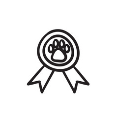 Dog award sketch icon vector