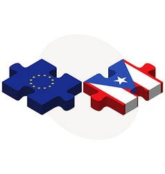 European union and puerto rico flags vector