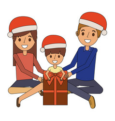 family wearing christmas hat with gift box vector image