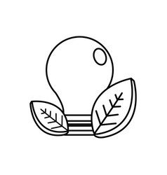 Figure save bulb with leaves icon vector
