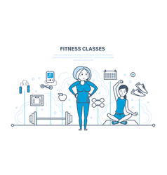 fitness classes lifestyle active sport and yoga vector image