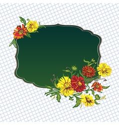 Flowers and green frame vector