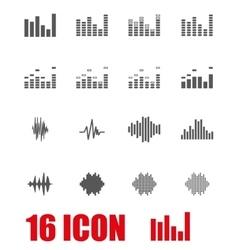 Grey music soundwave icon set vector