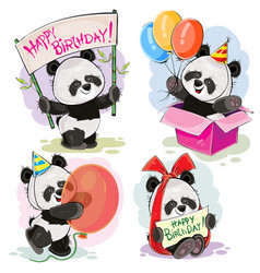 happy birthday set with baby panda bears vector image vector image