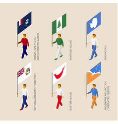 Isometric people with flags vector