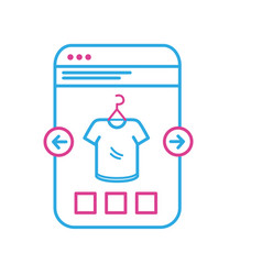 line smartphone website shopping the clothes vector image vector image