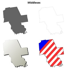 Middlesex map icon set vector