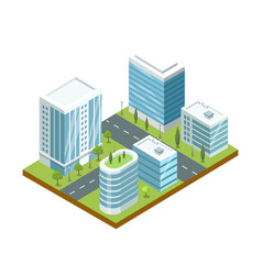 Modern business district isometric icon vector
