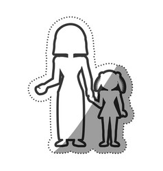 Mother and daughter female image outline vector