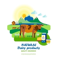 Natural dairy products quality assurance vector