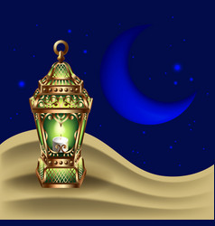 night background with vintage gold lantern vector image vector image