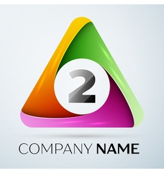 Number two logo symbol in the colorful triangle on vector image vector image