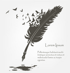 Old feather with flying birds and ink stains vector