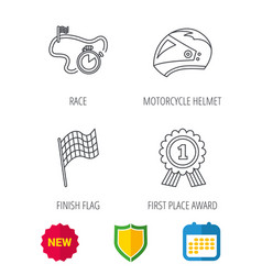 race flag motorcycle helmet and award medal vector image vector image
