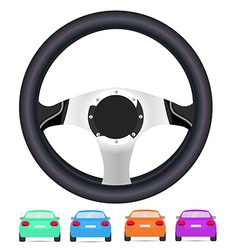 Realistic steering wheel and set of back of cars vector