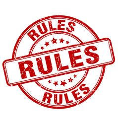 Rules red grunge round vintage rubber stamp vector