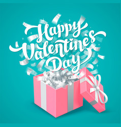 Sant valentines day greeting card white happy vector