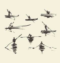 set man boat hand drawn vector image