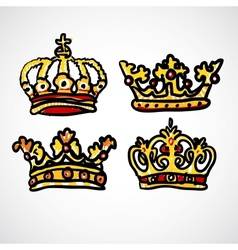 Set of doodle crowns vector image vector image