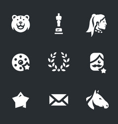 Set of movie award icons vector