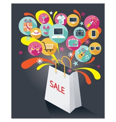 Shopping Bag with Sale Text and Various Icons vector image