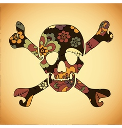 skull with colorful flowers vector image