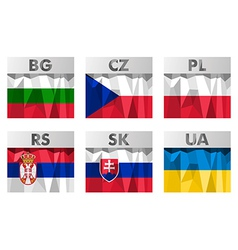 Slavic countries flags vector