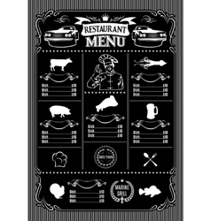 template for menu on black background and icons of vector image vector image