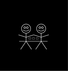 Two happy stick figures with house vector