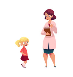 Woman doctor and little girl medical exam vector