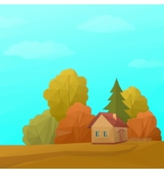 Landscape house in autumn forest low poly vector
