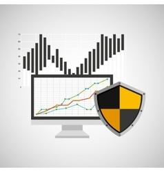 Statistics banking safe shield protection vector