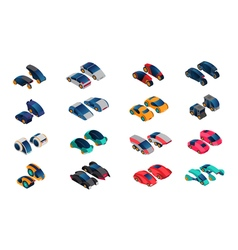 Futuristic cars isometric icons set vector