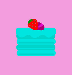 Delicious chocolate strawberry cake vector