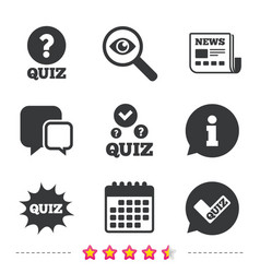 Quiz icons speech bubble with check mark symbol vector