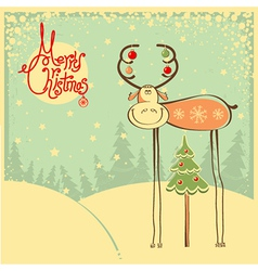 Vintage christmas card with funny bull and snow vector