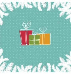A pile of colorful christmas gift boxes vector