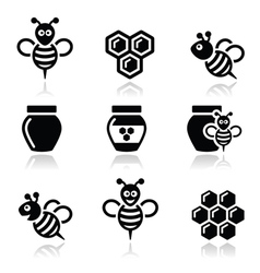 Bee and honey icons set vector